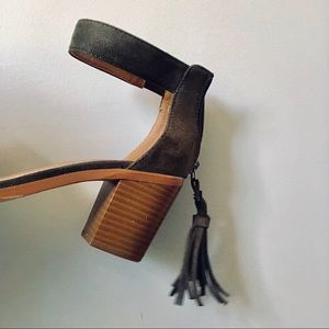 Shoes - Olive Block Heel With Tassel